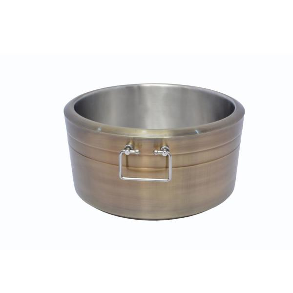 6.5 Gal. Brushed Gold Double Wall Beverage Tub with Grip Handles