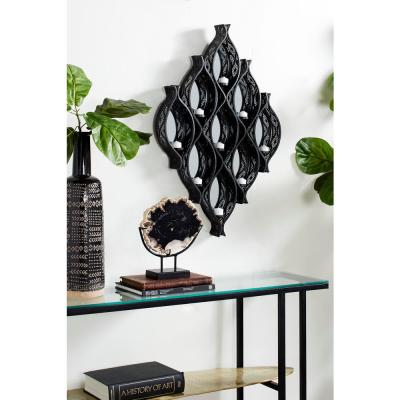 Eclectic Large Black Diamond Mesh Metal Wall Sconce with Mirrors