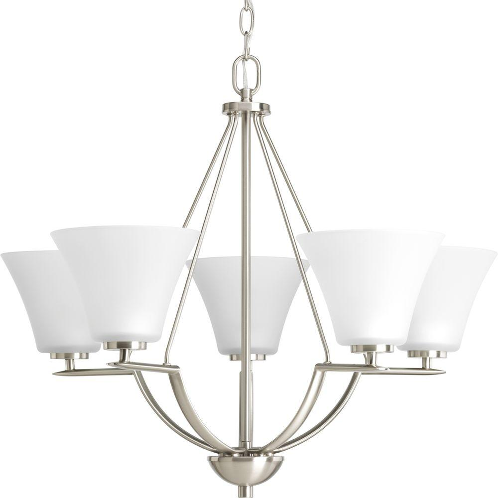 Bravo Collection 5-Light Brushed Nickel Chandelier with Shade with Etched Glass