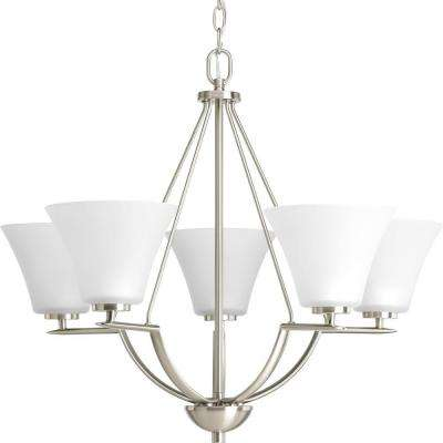 Bravo Collection 5-Light Brushed Nickel Chandelier with Etched Glass Shade
