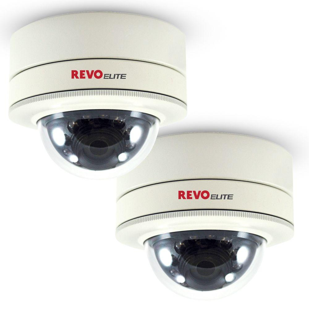 Revo Elite 2-Pack of 600TVL Indoor/Outdoor Mini Vandal Proof Dome Surveillance Cameras-DISCONTINUED