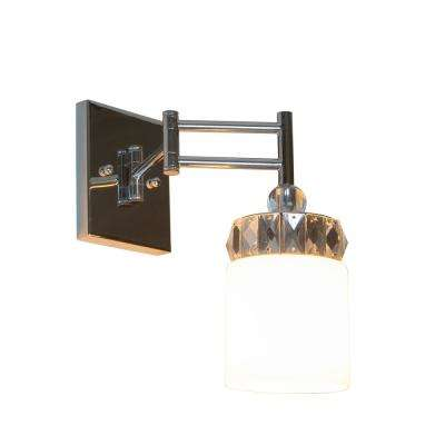 Cora 6.25 in. 1-Light Chrome, Crystal and Glass Wall Sconce