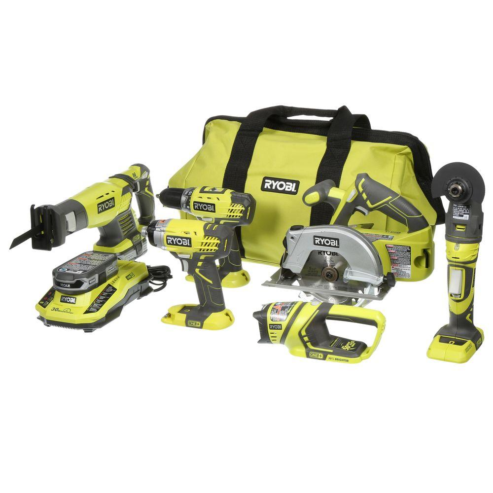 ryobi 18 volt one lithium ion ultimate combo kit 6 tool p884 the home depot. Black Bedroom Furniture Sets. Home Design Ideas