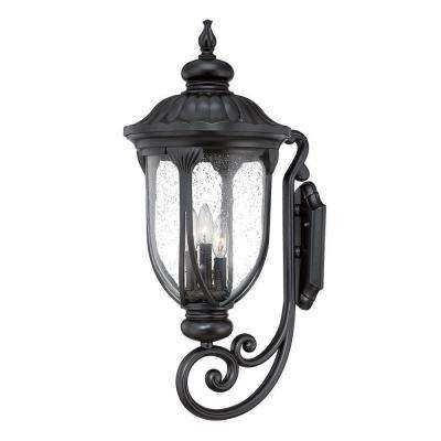 Laurens Collection 3-Light Matte Black Outdoor Wall Mount