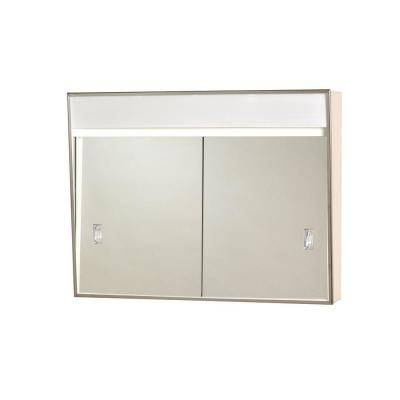 24.38 in. x 19.5 in. Lighted Sliding Door Surface-Mount Medicine Cabinet in Chrome