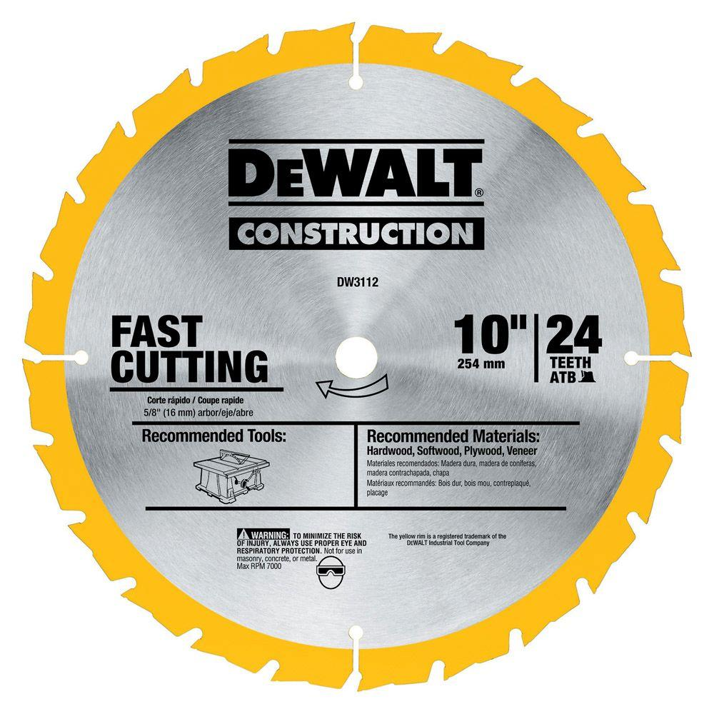 Dewalt construction 10 in 24 teeth thin kerf table saw blade dw3112 dewalt construction 10 in 24 teeth thin kerf table saw blade greentooth Choice Image