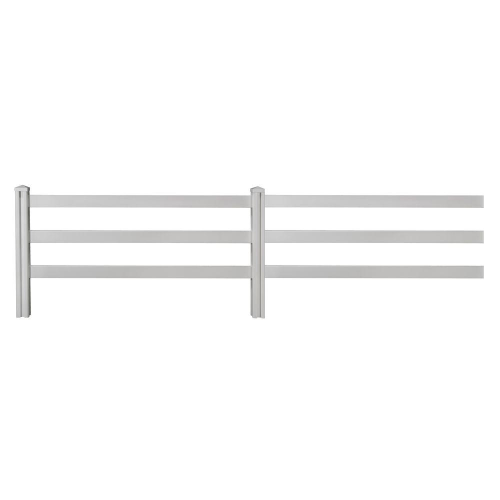 4 ft. x 7 ft. Decorative Vinyl 3-Rail Fence Panel