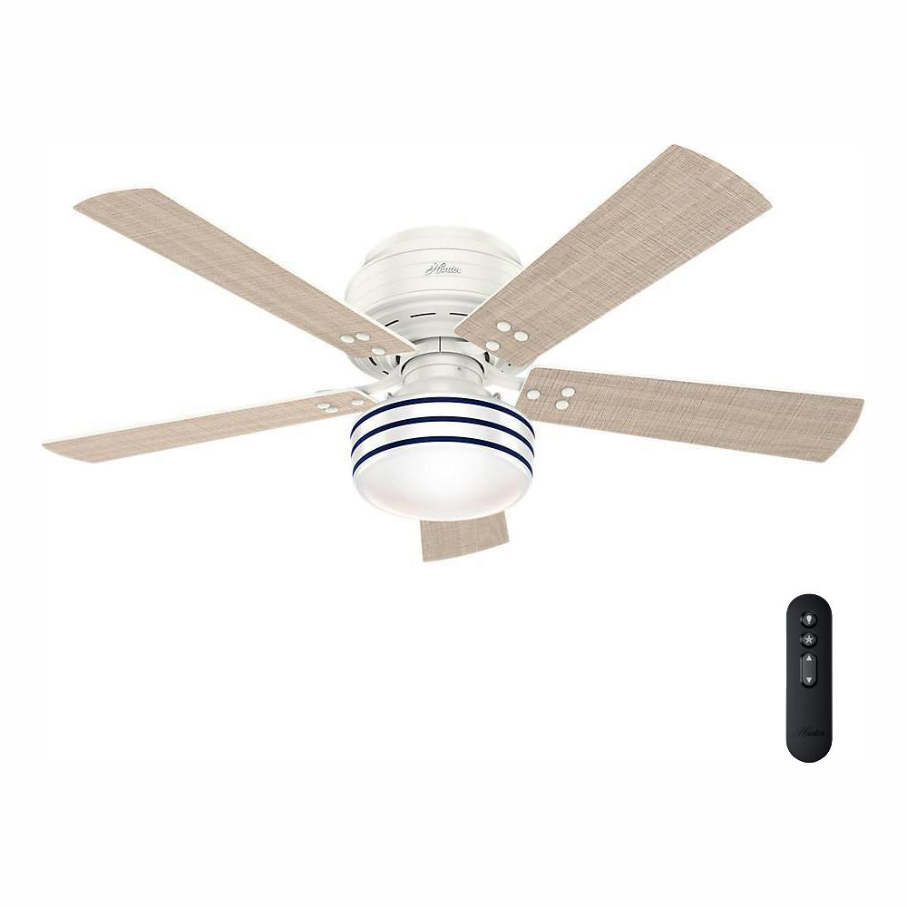 Hunter Cedar Key 52 in. Indoor/Outdoor Fresh White Low Profile Ceiling Fan with Light Kit and Handheld Remote Control