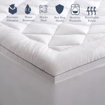 Hypoallergenic Allergen Barrier Down Alternative Fill Queen Mattress Pad