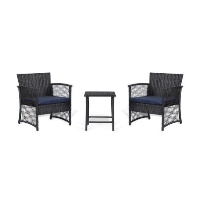 Highland 3-Piece Woven Rattan Wicker Patio Conversation Seating Set with Black/Navy Cushions