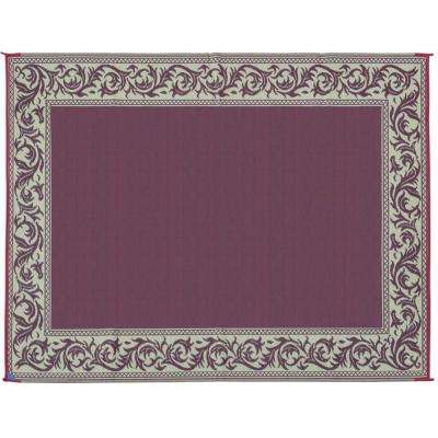 6 ft. x 9 ft. Classical Burgundy/Beige Reversible Mat