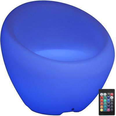 Indoor/Outdoor LED Modern Poly Club Lounge Chair with Remote Control