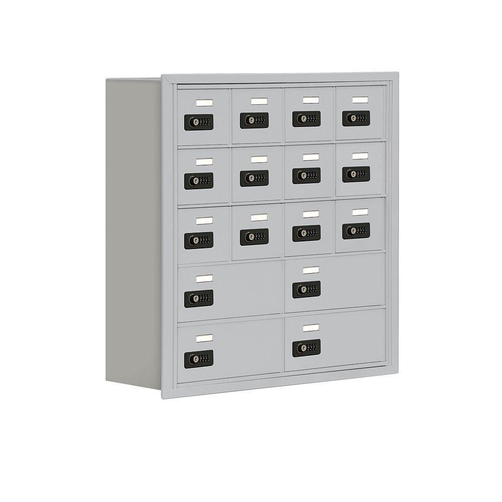 19000 Series 29.3 in. W x 29.8 in. H x 8.8 in. D 12 A/4 B Doors R-Mount Resettable Locks Cell Phone Locker in Aluminum