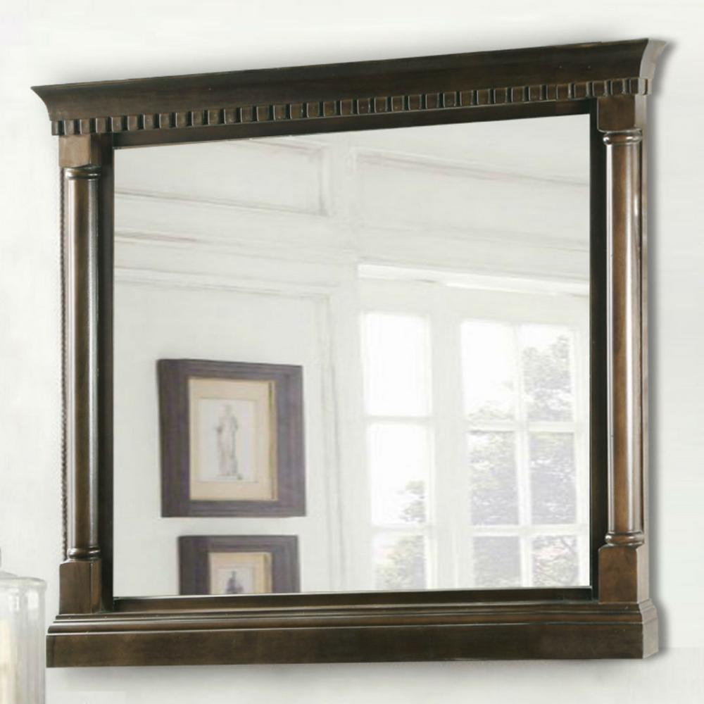 28 in. W x 26 in. H Framed Rectangular Bathroom Vanity Mirror in Antique Coffee