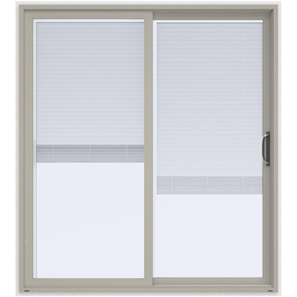 72 in. x 80 in. V-4500 Contemporary Desert Sand Vinyl Right-Hand Full Lite Sliding Patio Door w/White Interior & Blinds