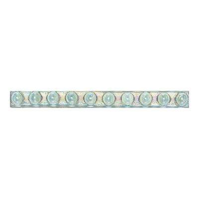 Cristallo Glass Aquamarine 3/4 in. x 8 in. Glass Bead Accent Wall Tile