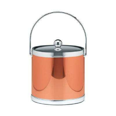 Mylar 3 Qt. Polished Copper and Chrome Ice Bucket with Bale Handle and Metal Lid
