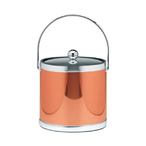 Mylar 3 Qt. Polished Copper and Chrome Ice Bucket with Bale Handle and Metal Lid (Case of 6)