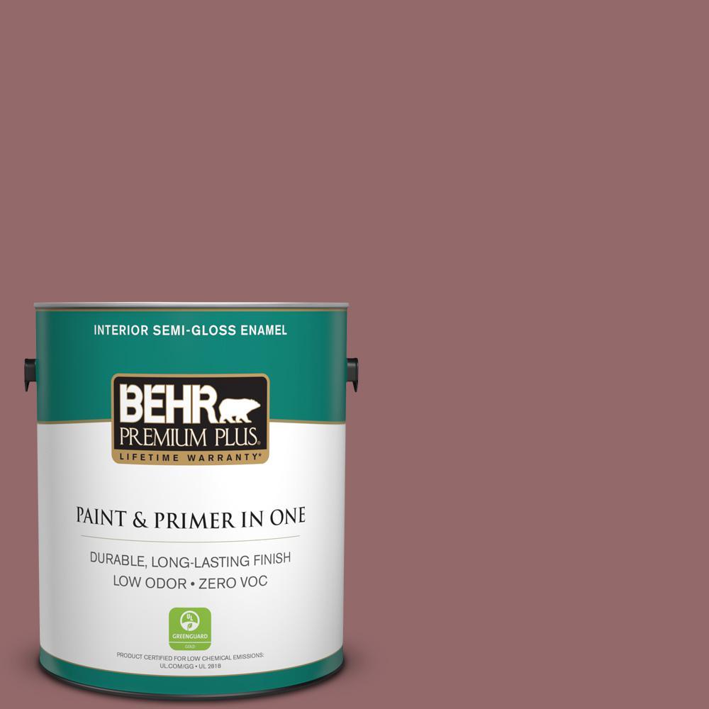 BEHR Premium Plus 1-gal. #140F-5 Clay Ridge Zero VOC Semi-Gloss Enamel Interior Paint