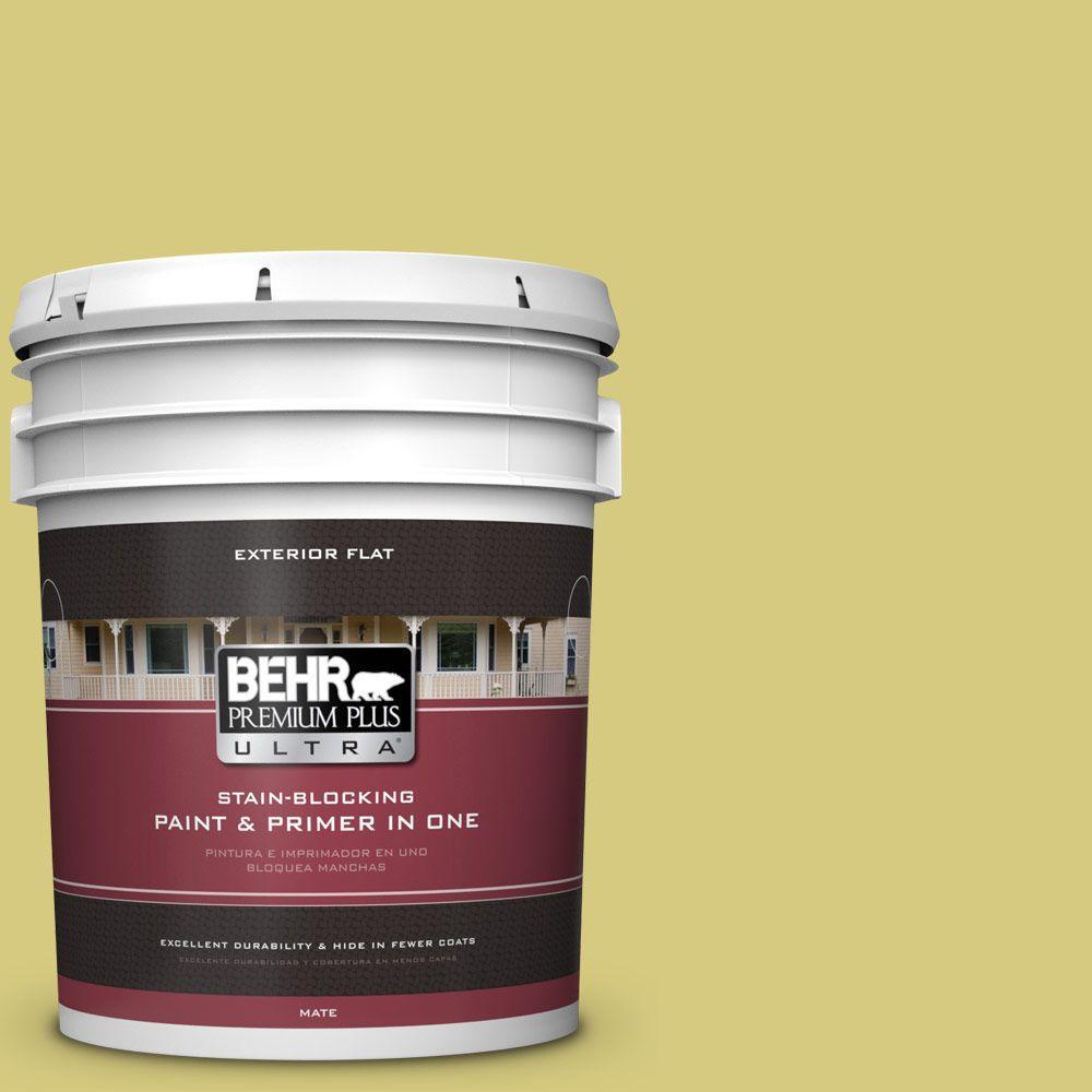 BEHR Premium Plus Ultra 5-gal. #P350-4 Spring Grass Flat Exterior Paint