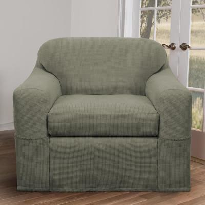 Reeves Stretch 2-Piece Moss Gray Chair Slipcover