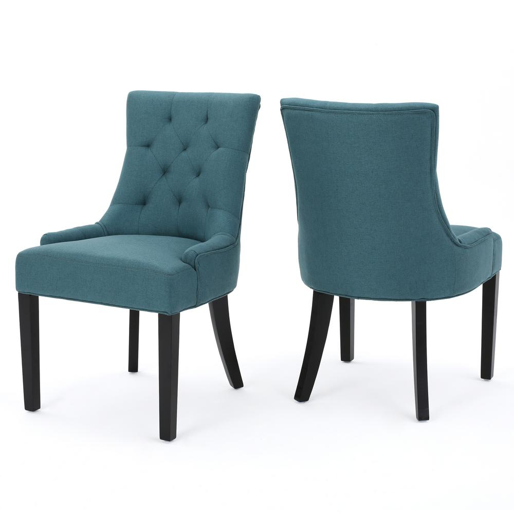 Noble house hayden dark teal fabric dining chair set of 2