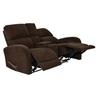 Chocolate Brown Chenille 2-Seat Recliner Loveseat with Power Storage Console