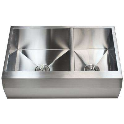 Farmhouse Well Angle Apron Front Stainless Steel 33 in. x 22 in. x 10 in. 16-Gauge Double 60/40 Zero Radius Kitchen Sink