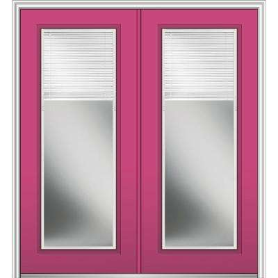 72 in. x 80 in. Internal Blinds Left-Hand Inswing Full Lite Clear Low-E Painted Fiberglass Smooth Prehung Front Door