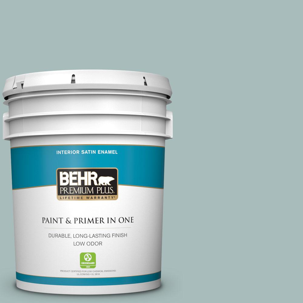 BEHR Premium Plus 5 Gal. #QE-43 Water Surface Satin Enamel