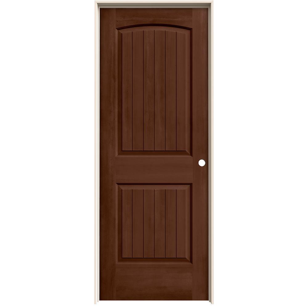 32 in. x 80 in. Santa Fe Milk Chocolate Stain Left-Hand Molded Composite MDF Single Prehung Interior Door
