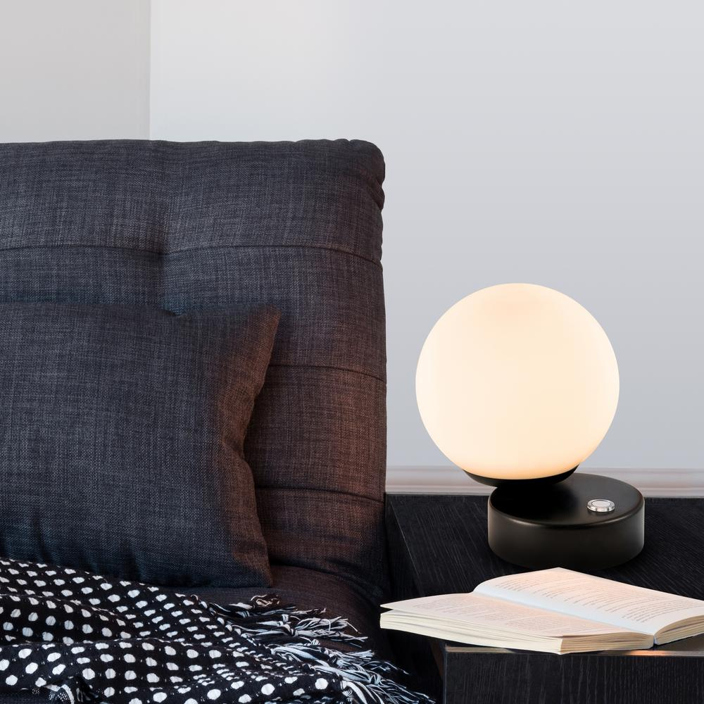 Black Indoor Table Lamp With 3 Way Touch Integrated Led Technology