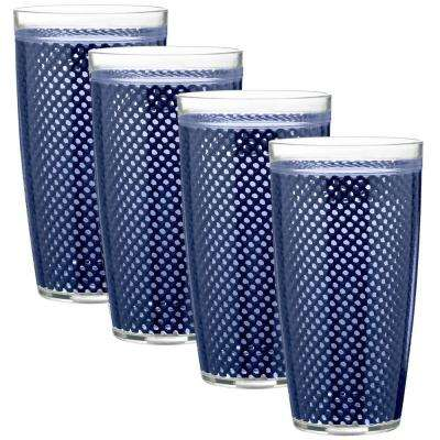 Fishnet 24 oz. Navy Insulated Drinkware (Set of 4)