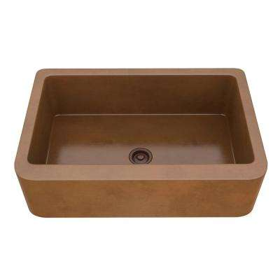 Venture Farmhouse Handmade Copper 33 in. Single Bowl Kitchen Sink in Polished Antique Copper