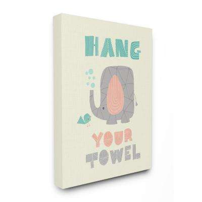 "30 in. x 40 in. ""Hang Your Towel Mod Elephant"" by Heather Rosas Printed Canvas Wall Art"