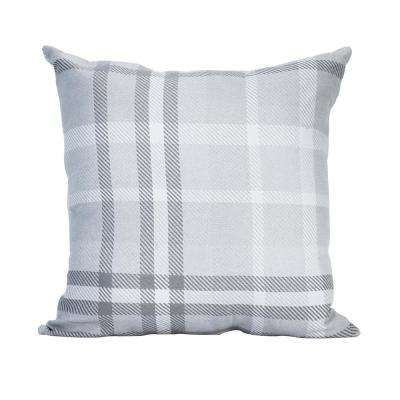 Tartan Charcoal Square Outdoor Accent Lounge Throw Pillow