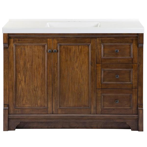 Creedmoor 49 in. W x 22 in. D Bath Vanity in Walnut with Cultured Marble Vanity Top in White with White Sink