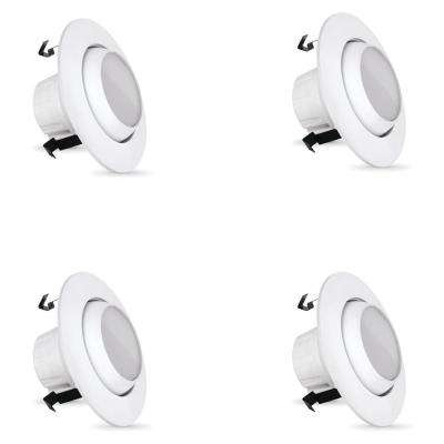 65W Equivalent Warm White 4 in. White Adjustable Recessed Retrofit Downlight Dimmable LED Module (Case of 4)