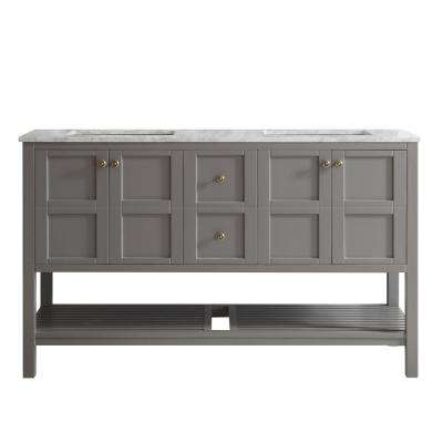 Florence 60 in. W x 22 in. D x 35 in. H Vanity in Grey with Marble Vanity Top in White with Basin
