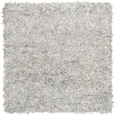 Leather Shag Gray/White 5 ft. x 5 ft. Square Area Rug