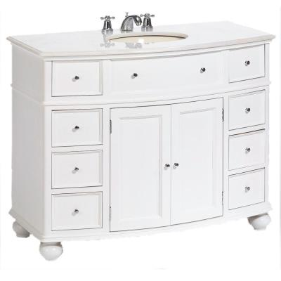 Hampton Harbor 45 in. W x 22 in. D Bath Vanity in White with Natural Marble Vanity Top in White Natural