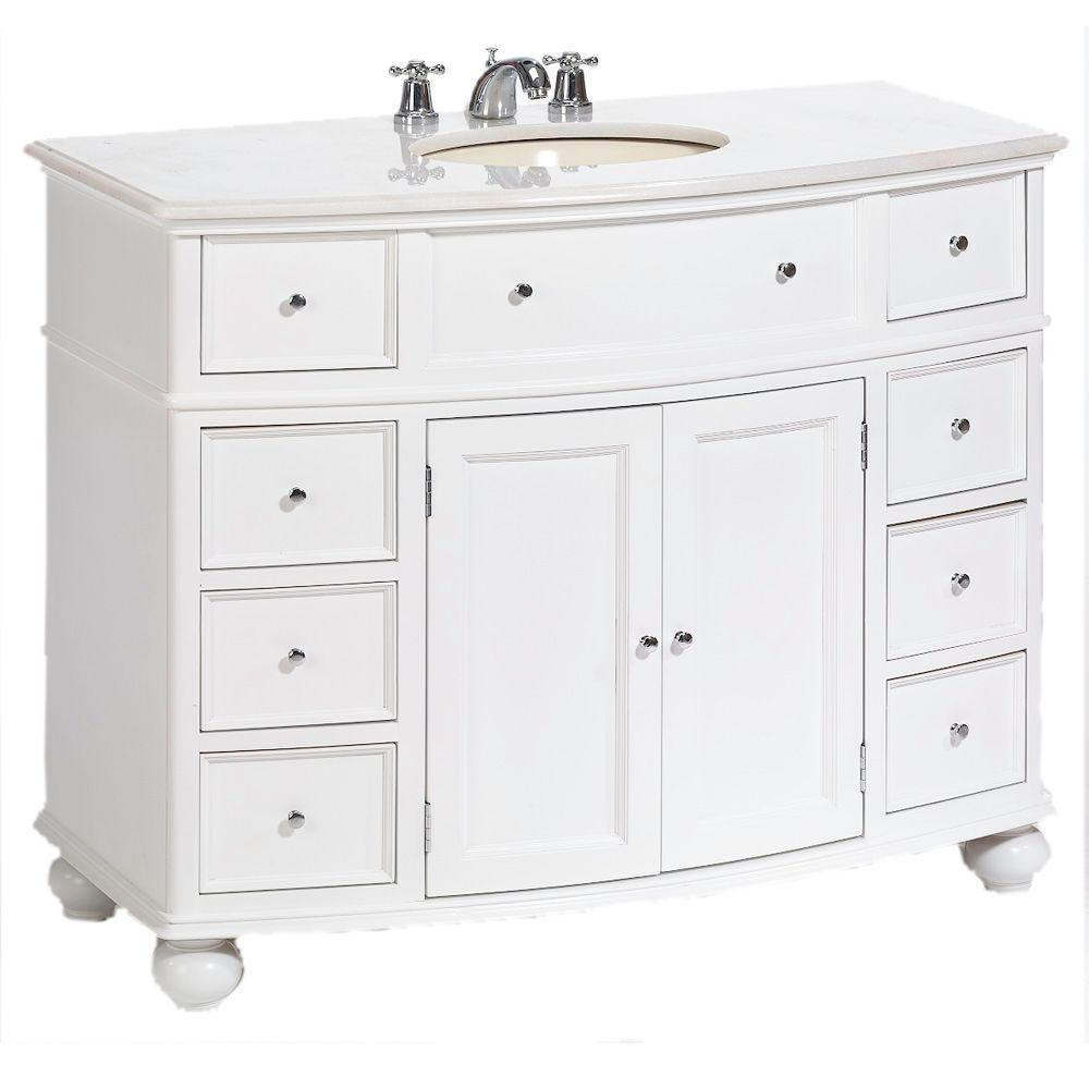 D Bath Vanity In White With Natural Marble Top