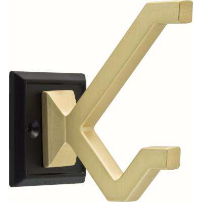2-1/5 in. Flat Black and Brushed Brass Modern Deco Wall Hook