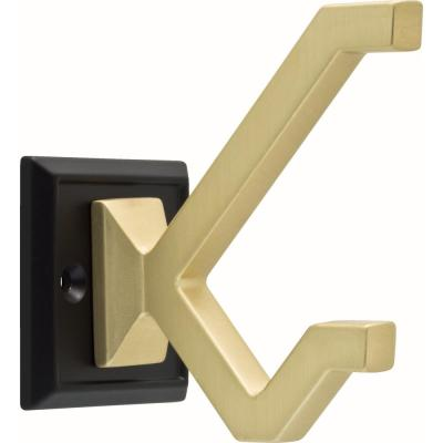 2-1/5 in. Matte Black and Brushed Brass Modern Deco Wall Hook