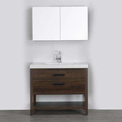 39.4 in. W x 32.4 in. H Bath Vanity in Brown with Resin Vanity Top in White with White Basin and Mirror