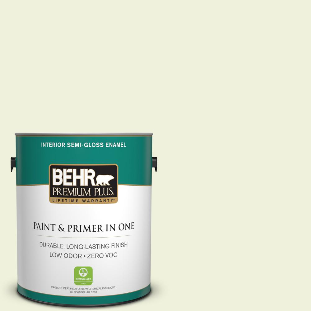 BEHR Premium Plus 1-gal. #410C-1 June Vision Zero VOC Semi-Gloss Enamel Interior Paint