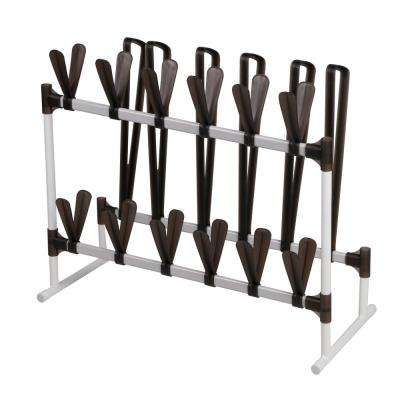 15-Pair White Plastic and Steel Shoe Organizer