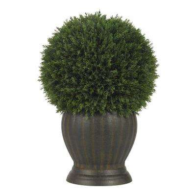 14 in. Cedar Ball Topiary Silk Plant