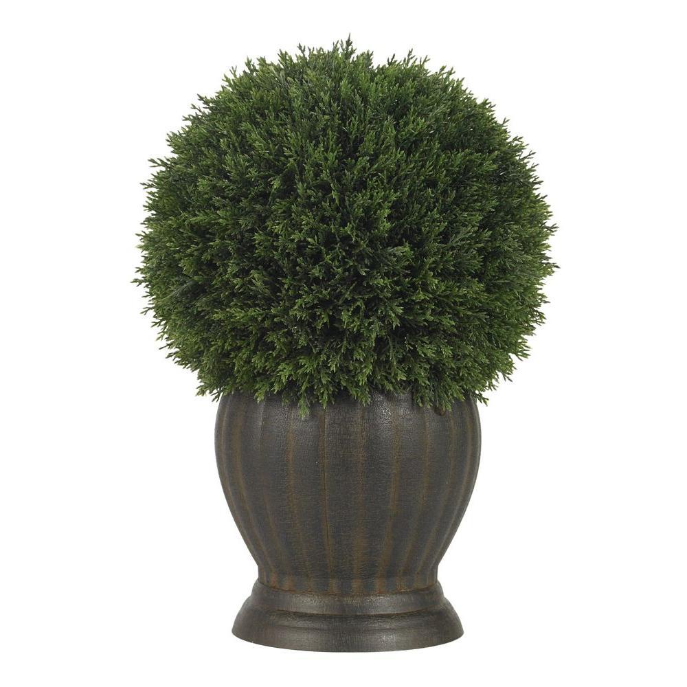 14 in. Cedar Ball Topiary Silk Plant