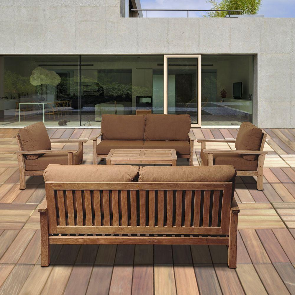 Lounge sofa outdoor teak  Amazonia Todds 5-Piece Teak Patio Seating Set with Sunbrella ...